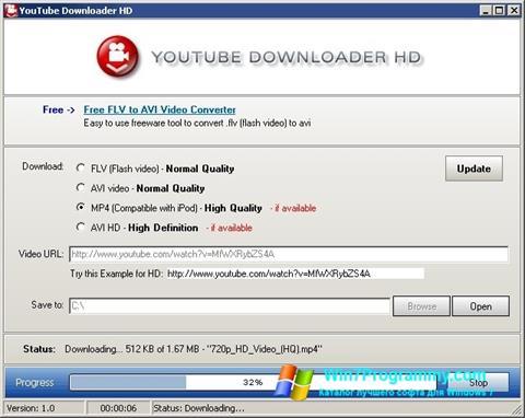 Скриншот программы Youtube Downloader HD для Windows 7