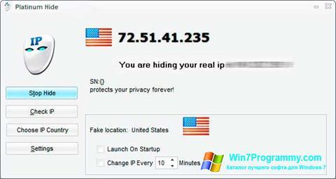 Скриншот программы Hide IP Platinum для Windows 7
