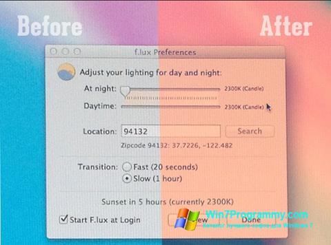 Скриншот программы F.lux для Windows 7