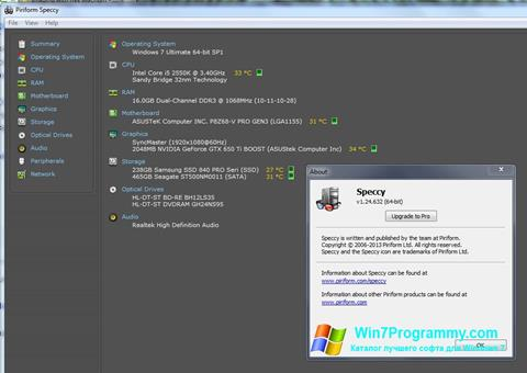 Скриншот программы Speccy для Windows 7