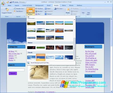 Скриншот программы Artisteer для Windows 7