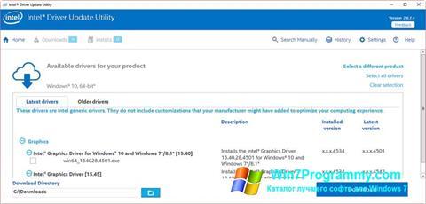 Скриншот программы Intel Driver Update Utility для Windows 7