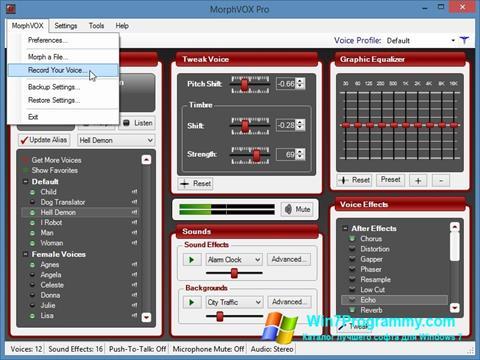 Скриншот программы MorphVOX Pro для Windows 7