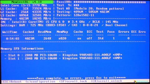 Скриншот программы MemTest для Windows 7