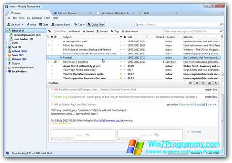 Скриншот программы Mozilla Thunderbird для Windows 7