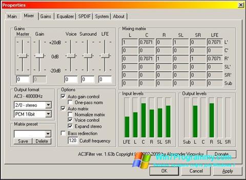 Скриншот программы AC3 Codec для Windows 7
