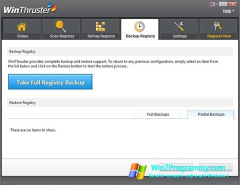 Скриншот программы WinThruster для Windows 7