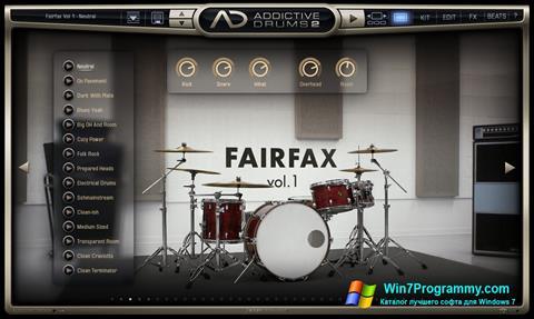 Скриншот программы Addictive Drums для Windows 7