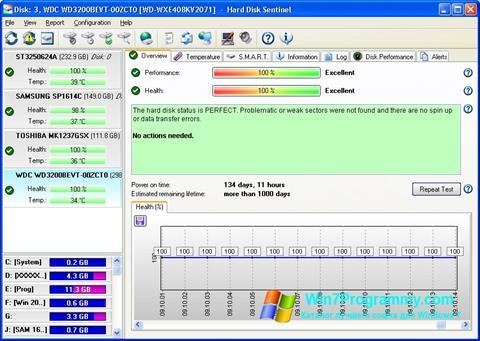 Скриншот программы Hard Disk Sentinel для Windows 7