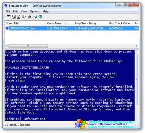 Скриншот программы BlueScreenView для Windows 7