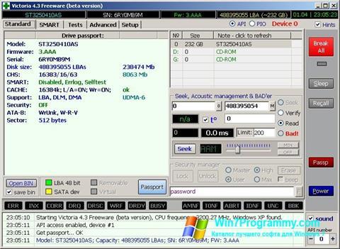 Скриншот программы Victoria для Windows 7