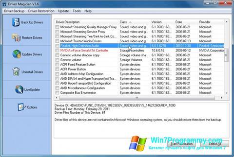 Скриншот программы Driver Magician для Windows 7
