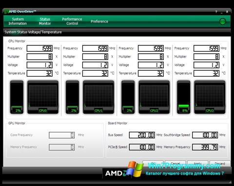 Скриншот программы AMD Overdrive для Windows 7