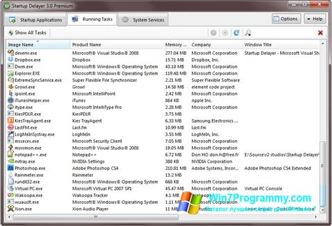 Скриншот программы Startup Delayer для Windows 7