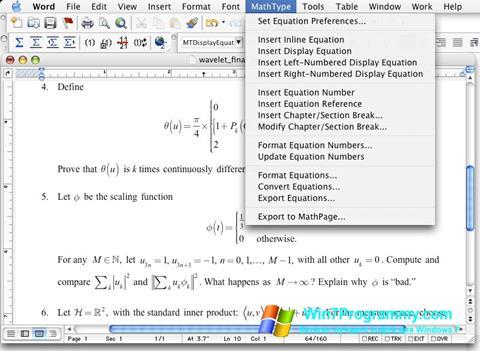 Скриншот программы MathType для Windows 7