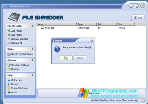Скриншот программы File Shredder для Windows 7