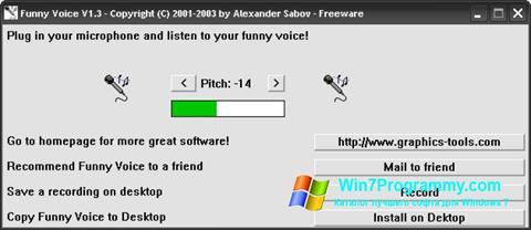 Скриншот программы Funny Voice для Windows 7