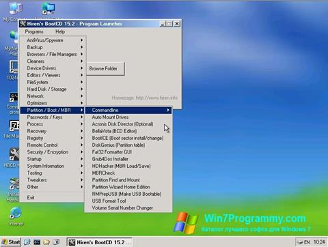 Скриншот программы Hirens Boot CD для Windows 7