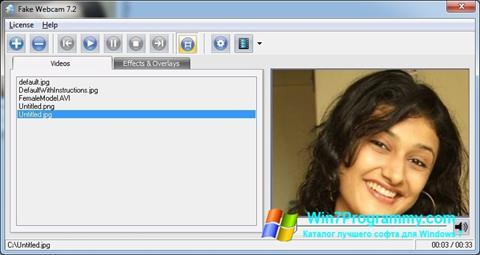 Скриншот программы Fake Webcam для Windows 7