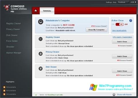 Скриншот программы Comodo System Utilities для Windows 7