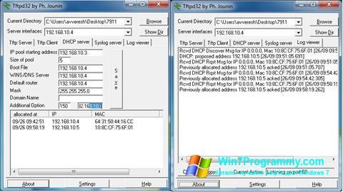 Скриншот программы Tftpd32 для Windows 7